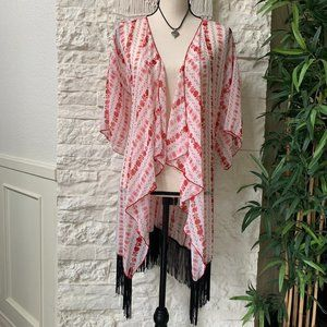 LuLaRoe Red and White Fringed Print Kimono